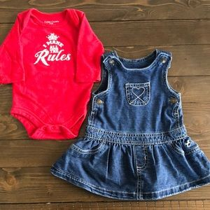 Baby Girl Faded Glory onsie/overall dress bundle